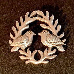 Vintage Sterling Silver Laurel and Birds Pendant
